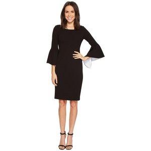 CALVIN KLEIN Ruffle Bell Sleeve Sheath Dress Black 14 Plus Size Formal Career